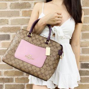 Coach satchel Bag Khaki purple pink